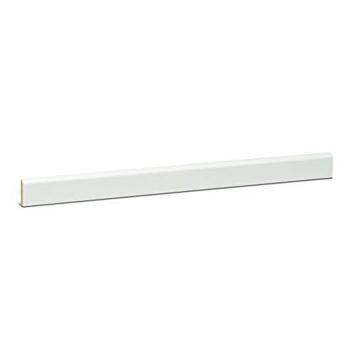 KGM Deckleiste weiss 6x24 mm | Tapetenleisten weiß aus massiver Kiefer ✓vielseitig einsetzbar ✓Kiefer massiv ✓weiß deckend lackiert | schmale Sockelleisten oben Rund | Echtholz Leiste Länge 2.4m