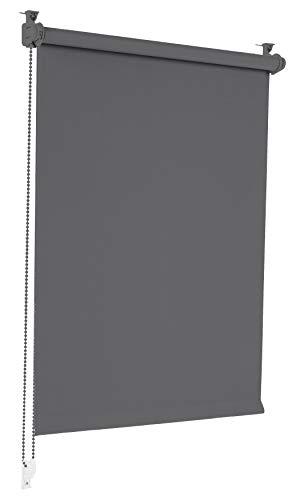 Sonello Verdunkelungsrollo Klemmfix ohne Bohren 90cm x 210cm Grau Verdunklungsrollo Fensterrollo Rollo Seitenzugrollo Klemmrollo für Fenster & Tür