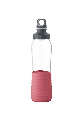 Emsa N3100400 Drink2Go Glas Trinkflasche (Fassungsvermögen: 0,7 Liter, Schraubverschluss) Korall-Rot