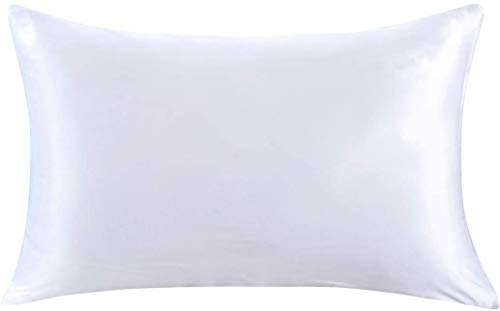 ZIMASILK Kissenbezug aus 100% Seide für Haare und Haut. Doppelseitige 19 Momme Reine Maulbeerseide Kissenhülle mit Reißverschluss, 1 Stück.(40x60 cm, Weiß)