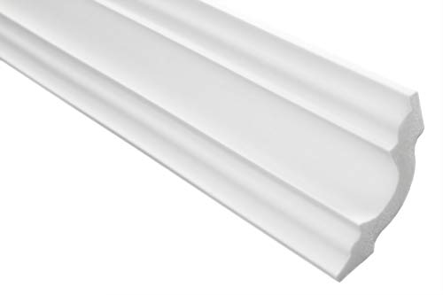 Zierleisten Sparpaket E-14 | leicht und stabil | extrudiertes Styropor | Stuckprofile | Decken-/ und Wandübergang | modern weiß | dekorativ | XPS | 50 x 50 mm | 30 Meter