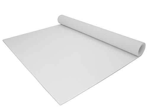 PVC Bodenbelag EXPOTOP Profi Vinylboden - 2,00m x 1,00m, Uni Weiß PVC Boden Meterware Vinyl, Reflektiert Nicht, Einfarbig, Schwer Entflammbar