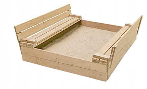 Sandkasten mit Sitzbank 120 x 120 x 21 cm , Natur Holz Imprägniert Abdeckung Deckel Kindersandkasten - Garten/Sandkasten für Kinder