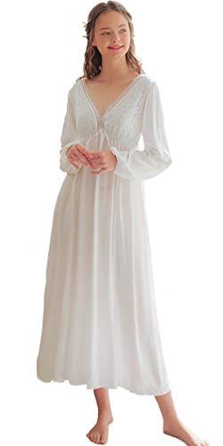 Nanxson Damen Langarm Nachthemd Vintage viktorianische Nachtwäsche V-Ausschnitt Spitze Nachtwäsche SQW0003 (L, Weiß)