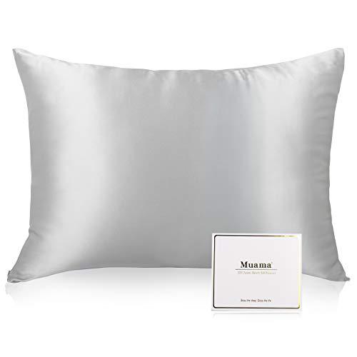 Muama 100% Seide Kissenbezug für Haar und Haut,Seidenkissenbezug mit verstecktem Reißverschluss, beide Seiten 19 Momme Naturseide, 1 Stück (40x80 cm, Silbergrau)
