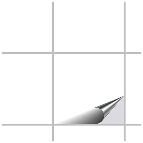 FoLIESEN Fliesenaufkleber 15x15 cm - Fliesen-Folie Bad - Klebefolie Küche - 50 Klebefliesen, Weiß Klassik seidenmatt
