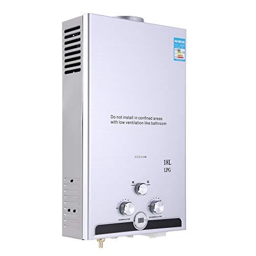 Valens 18L LPG Gas-Durchlauferhitzer Warmwasserbereiter Durchlauferhitzer mit LED Bildschirm Heißwasserbereiter Boiler Warmwasserspeicher Tankless Instant Boiler (18L)