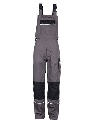 TMG® Arbeitslatzhose Herren, lange Arbeitshose mit Latz und Kniepolstertaschen Grau 56