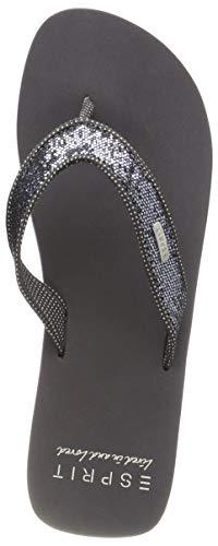 ESPRIT Damen Glitter Thongs Pantoletten, Grau (Gunmetal 015), 42 EU