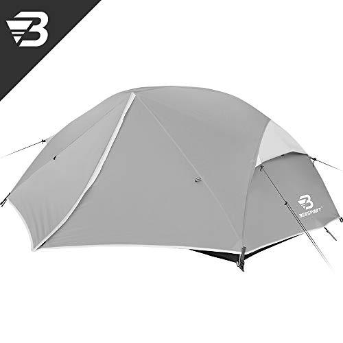 Bessport Ultraleicht Zelte 2-3 Personen, Winddicht &Wasserdicht PU 3000MM+, 3-4 Saison, Kuppelzelt Sofortiges Aufstellen für Trekking, Festival, Camping und Outdoor (2Person-Grey)
