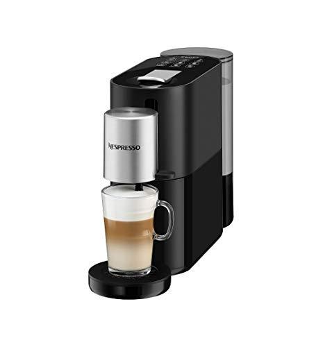 Krups XN8908 Nespresso Atelier Kaffeekapselmaschine   Milchaufschäumsystem direkt in der Tasse   Heiße+kalte Getränke   1L Wassertank   inkl. Nespresso Glastasse+Kapseln   19bar Druck   Schwarz/Silber