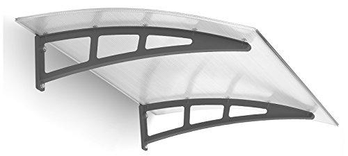 Schulte Pultbogenvordach Twinline, 138x95 cm, 10 mm Polycarbonat-Hohlkammerplatte Klar, Kunststoff Halterungen anthrazit, Haustür-Vordach Überdachung
