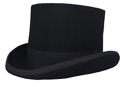 Herren 100% Wolle Zylinder Hut Erwachsenenhut Hohe Hut Damen Magic Partyhüte (Large Kopfumfang 58cm-60cm)