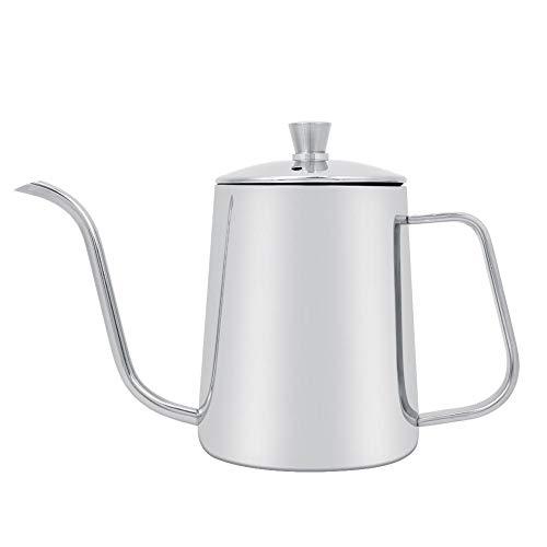 Garsent Kaffeekanne mit Schwanenhals, 550 ml Edelstahl Kaffeekessel Wasserkessel Kaffee-Tropftopf für Küche