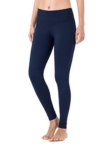 NAVISKIN Damen Slim-Laufhose Thermoleggings Innenfleece wärmeisolierende Sport-Leggings Jogging-Yogahose mit Schlüsseltasche navy Größe M