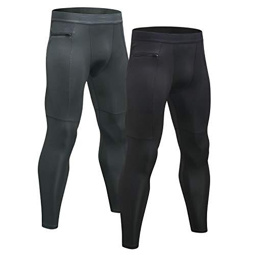 Niksa Sport Leggings männer 2er pack,laufhose Tight lange unterhose Quick Dry kompression Hose für Fitness Gym Joggen Gr. S-XXL (S, Black Gray(1070)*2)