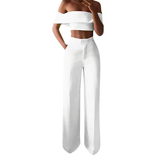 Ansenesna Damen Kleidung Set Schulterfrei Crop Shirt und Hose High Waist Weites Bein Gerade Outfit (Weiss,L)