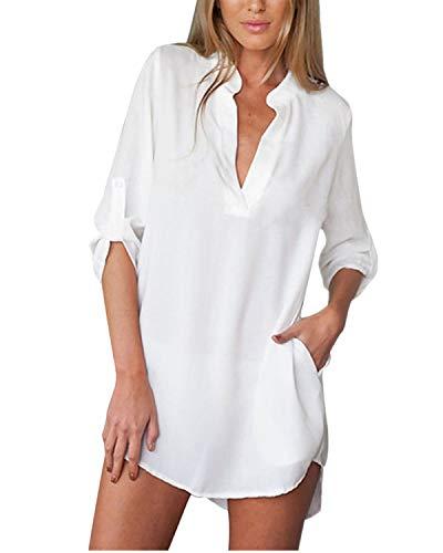 ZANZEA Damen V-Ausschnitt Chiffon Langarm Slim Oversize T-Shirt Bluse Lose Tops Weiß* EU 42/US 10