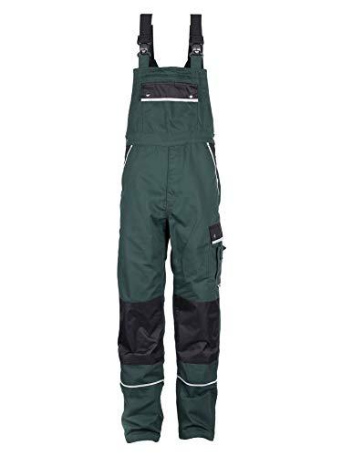 TMG® Arbeitslatzhose Herren, Lange Arbeitshose mit Latz und Kniepolstertaschen Grün 54