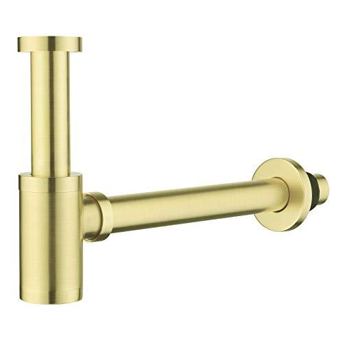Messing Design Siphon, Keymark Universal Designsiphon für Waschbecken & Waschtisch, Abflussgarnitur passgenau Flaschensiphon 1 1/4 x 32mm, Rund Geruchverschluss, Gebürstete, Brushed Gold