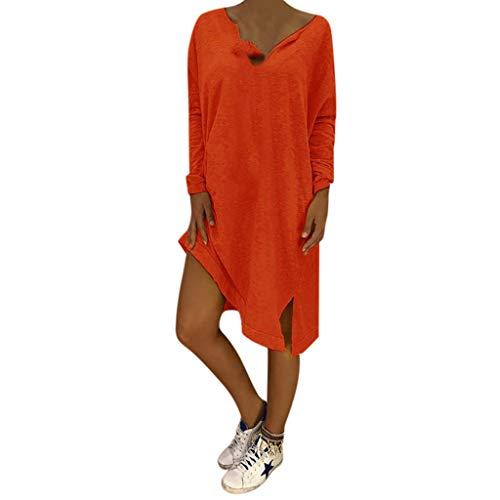 LOPILY Lose Tunika Blusenkleider Damen Sommer Lässige Spitzensaum V-Ausschnitt Kleider Strandkleid Einfarbig Einfach Bequem Freizeit Knielang Sommerkleider Übergröße(X1-Orange,DE-40/CN-L)
