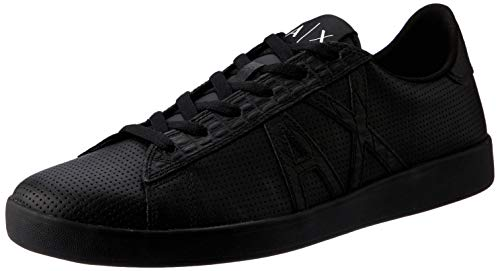 Armani Exchange Herren Lace Up Sneaker, Schwarz (Black + Black K001), 39 EU