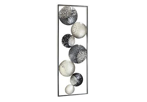 Kobolo Wanddekoration Wandbild Metallbild - Slices - Metall - weiß grau Silber - 31x89