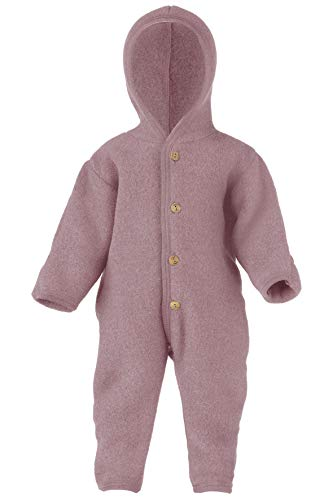 Engel Baby Overall mit Kapuze Wollfleece, 62-68/62/68, Rosenholz Melange 051E