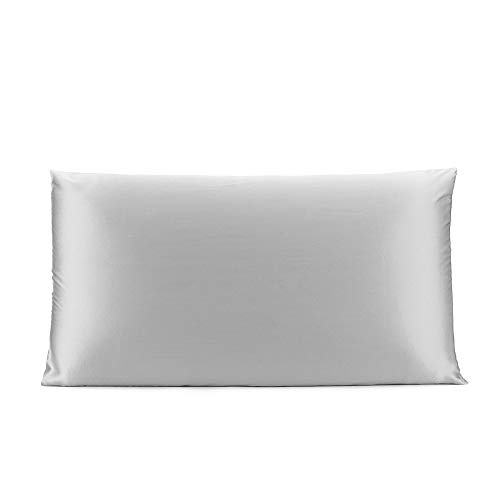OLESILK 100% Seide Kissenbezug Kissenhülle Haar- und Hautpflege mit Verstcktem Reißverschluss 19 Momme 1 Stück Silbergrau 40×80cm