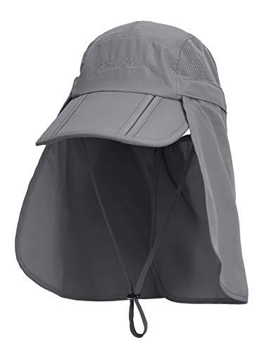 Unisex Safari Cap mit extra langem Nackenschutz Anti UV Abklappbar Baseball Mütze für Camping Outdoor - Dunkelgrau