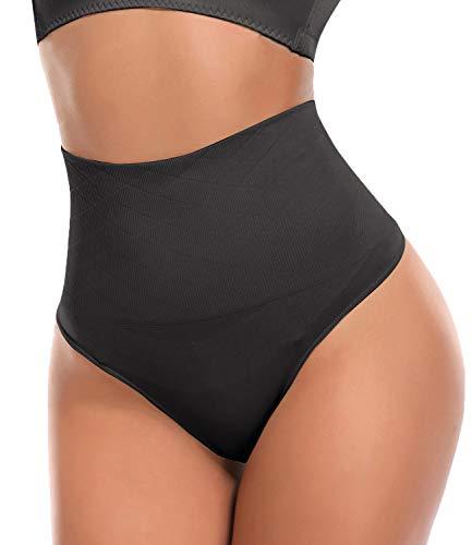 SLIMBELLE Damen Bauch Weg Mieder String Tanga Slip Figurenformend Miederpants Shapewear Unterwäsche, 1 Schwarz Tanga, Gr.- S≈DE 34