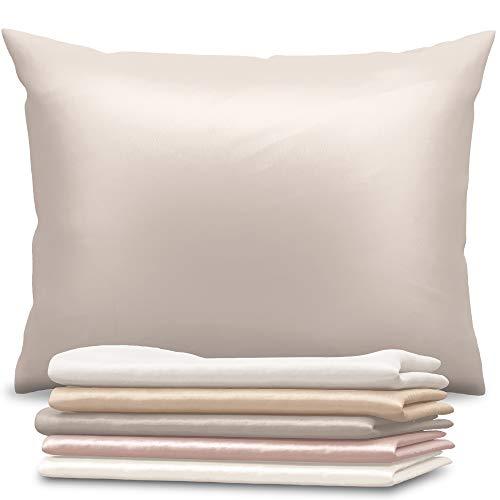 Dreamzie - Seidenkissenbezug 40 x 80 cm - 100% Maulbeerseide 19 Momme Doppelseitig Oeko-TEX® - Silk Pillowcase für Haar und Haut - Anti-Aging, Anti-Bettwanzen - Silber Grau