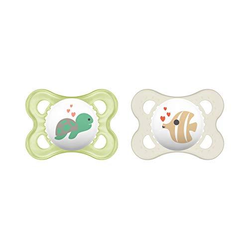 MAM Original Silikon Schnuller im 2er-Set, besonders sanfter Schnuller, Baby Schnuller aus speziellem MAM SkinSoft Silikon mit Schnullerbox, 0 - 6 Monate, beige