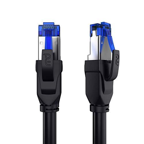 CSL - 10m CAT.8 Netzwerkkabel 40 Gbits - LAN Kabel Patchkabel Datenkabel - CAT 8 High Speed Gigabit Ethernet Cable - 40000 Mbits Glasfaser Geschwindigkeit - S/FTP PIMF Schirmung RJ45 Stecker