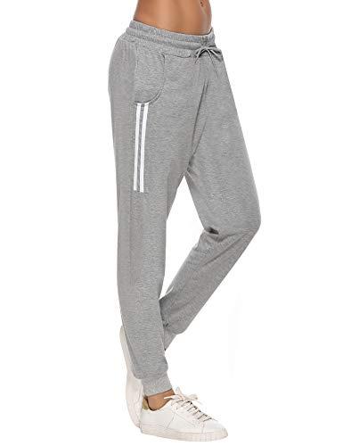 Aibrou Damen Strick Baumwolle Sporthose Sweathose mit Bündchen Traininghose Jogging Hose Slim Fit Grau XL
