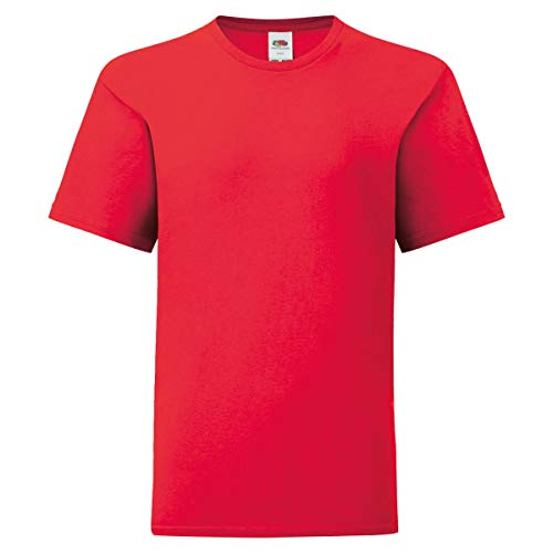 Fruit of the Loom Kids Iconic T-Shirt Größe 104-164, Farbe:rot, Größe:140