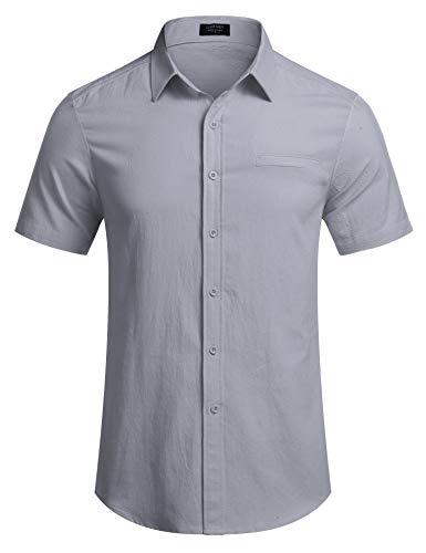 COOFANDY Herren Leinen Hemd Kurzarm Sommer Regular fit Freizeit Leicht Casual bügelfrei Leinenhemd für Männer Grau XXXL/3XL