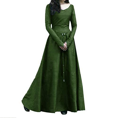 Mittelalter Kleidung Damen Langarm Mittelalter Kleid Gothic Viktorianischen Königin Kostüm V-Ausschnitt Prinzessin Renaissance Bodenlänge Mehrfarbig Kleider Karneval Fasching Fasnacht Piebo