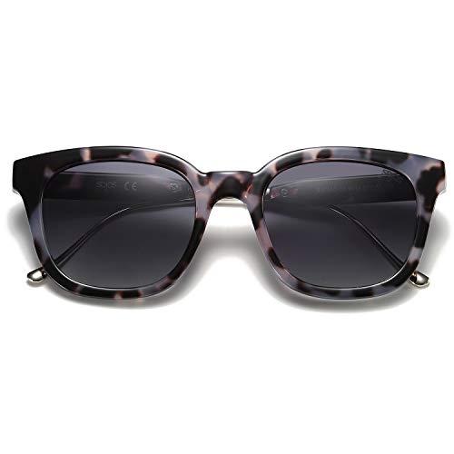 SOJOS Fashion Rechteckig Polarisierte Sonnenbrille Damen Herren in Mode SJ2050 mit Gold Hochschwarz Rahmen/Grau