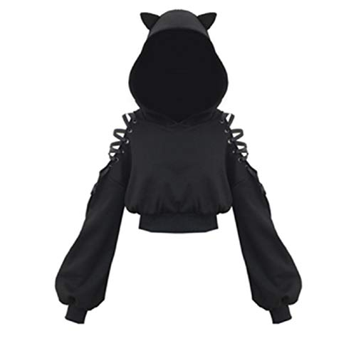 YEMOCILE Damen Cat Ears Black Hoodie Langarm Kapuzenpullover Sweatshirt Hollow Out Gothic Tops Bluse