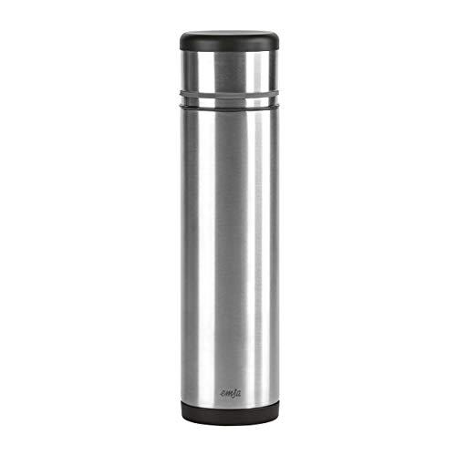 Emsa 509239 Isolierflasche (Mobil genießen, 1,0 Liter, Safe Loc Pro Verschluss, Mobility) schwarz/anthrazit