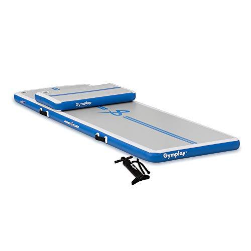 Gymplay Airtrack Trainer Kit I (300cmx100cmx10cm) inkl. Springboard und manulle Pumpe für Turnen Zuhause - Air Track/Weichbodenmatte für Gymnastik und Tumbling. Blau