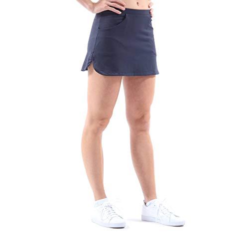 Sportkind Mädchen & Damen Classic Tennis, Hockey, Golf Skort, Rock mit Taschen & Innenhose, atmungsaktiv, UV-Schutz, Navy blau, Gr. M