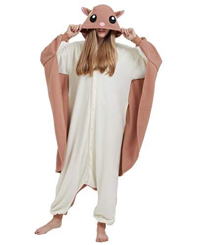 Jumpsuit Onesie Tier Karton Fasching Halloween Kostüm Sleepsuit Cosplay Overall Pyjama Schlafanzug Erwachsene Unisex Lounge, Fliegendes Eichhörnchen, Erwachsene Größe L - für Höhe 168-177CM