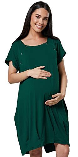 HAPPY MAMA Damen Geburtskleid Krankenhaus Umstands Nachthemd Stillfunktion. 097p (Dunkelgrün, 40-42, M)