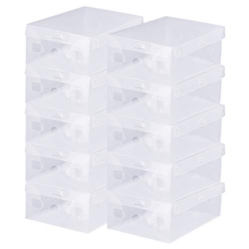BUZIFU 20 Stück Transparente Schuhaufbewahrungsboxen Faltbaren Schuhboxen Schuhschachteln aus Kunstoff (28x18x 9.5cm) für Damen, Herren, Sportschuhe, Stiefel, Sandalen
