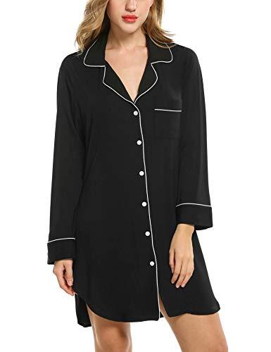 Avidlove Damen Viktorianisch Nachthemd T-shirt Luxus Nachtwäsche- Gr. L, Langarm 1: Schwarz