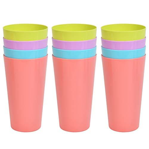 N\A 12 Stück Trinkbecher Rainbow Wiederverwendbare Becher Campingbecher Bunte Stapelbecher Becher Plastik-Becher Party-Becher Trink-Becher 4 Farben