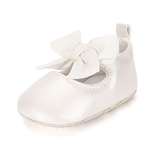 ESTAMICO Baby Mädchen rutschfest Weiche Leder Bowknot Taufschuhe Kleinkind Sneaker, 12-18 Monate ( hersteller größe: 3 ),  Beige