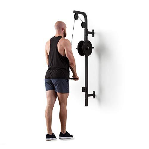 Klarfit Stronghold - Latzug, Kabelzug-Station, Fitness-Station, Heim-Training, Wandinstallation, max. 100 kg Gewichte, 2,5 m Kabel, Trizepsstange, solide Stahlkonstruktion, schwarz